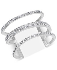 Inc International Concepts Silver Tone Pave Triple Row Cuff Bracelet Created For Macy's