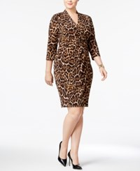 Anne Klein Plus Size Animal Print Wrap Dress Leopard