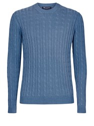 Aquascutum London Eton Cotton Cable Crew Neck Knit Blue