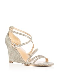 Badgley Mischka Bonanza Glitter Strappy Wedge Sandals Platino