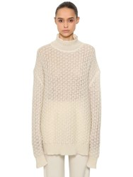 Jil Sander Over Mohair And Silk Sheer Knit Sweater White
