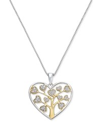Macy's Diamond Heart Tree Of Life Pendant Necklace 1 5 Ct. T.W. In 14K Gold Vermeil Two Tone