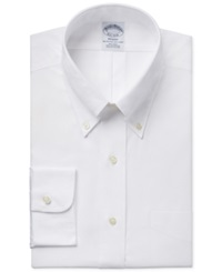 Brooks Brothers Slim Fit Non Iron Pinpoint Solid Dress Shirt White