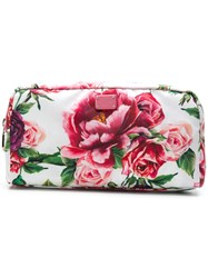 Dolce And Gabbana Peonie Printed Make Up Bag White