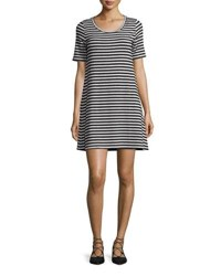 Majestic Paris For Neiman Marcus Striped Short Sleeve Jersey Shift Dress Marine Milk