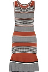 Sandro Striped Stretch Knit Mini Dress Camel