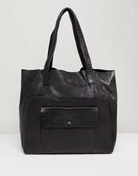 Urbancode Real Leather Shopper With Pocket Black