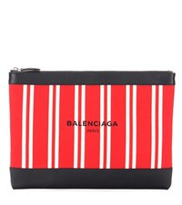Balenciaga Navy Canvas And Leather Clutch Multicoloured