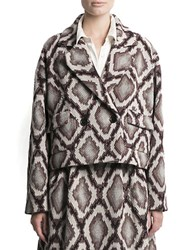 Pink Tartan Snake Print Cropped Jacket White Black