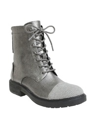 William Rast Wendy Military Lace Up Boots Silver