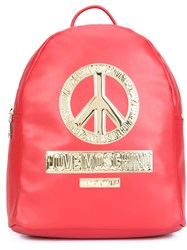 Love Moschino Peace Plaque Backpack Red