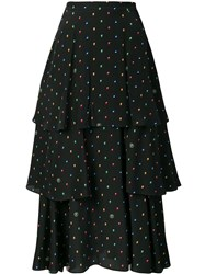 Stella Mccartney Printed Ruffled Skirt Black
