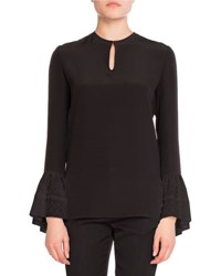 Saint Laurent Eyelet Sleeve Sable Keyhole Top Black