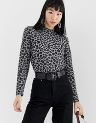 B.Young Leopard Print High Neck Top Multi