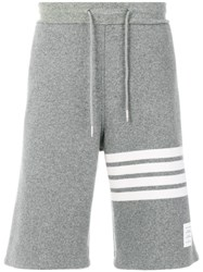 Thom Browne Engineered 4 Bar Stripe Cashmere Shell Sweat Shorts Grey