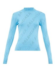 Balenciaga Perforated Logo High Neck Sweater Light Blue