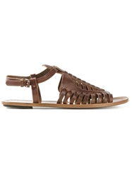 Proenza Schouler Strappy Woven Sandals Brown