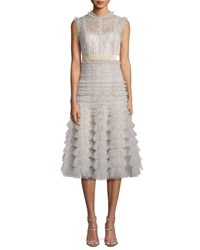 J. Mendel Sleeveless Lace Midi Cocktail Dress W Tulle Skirt Silver