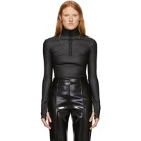 Kwaidan Editions Black Coated Stretch Light Zipper Sweatshirt