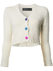 The Elder Statesman V Neck Cropped Cardigan Nude Neutrals