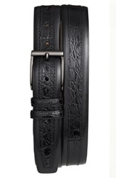 Men's Mezlan 'Parma' Calfskin And Genuine Crocodile Leather Belt Black