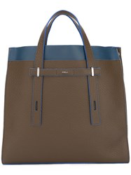 Furla Contrast Detail Structured Tote Brown