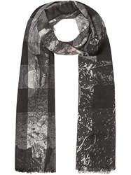 Burberry Dreamscape Print Check Lightweight Cashmere Scarf Black