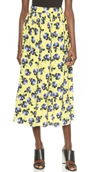Mother Of Pearl Romilly Gathered Midi Skirt Yellow Rose