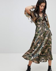 Native Rose Maxi Tea Dress In Mixed Jungle Print Jungle Multi
