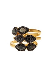 Freida Rothman Two Tone Slated Noir Cz And Mother Of Pearl Droplet Rings Set Black
