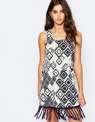 Band Of Gypsies Shift Dress With Fringe Hem Navy And White