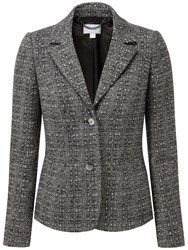 Pure Collection Sarah Textured Wool Blazer Black White Texture