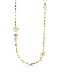 Tory Burch Fleur Rosary Long Necklace White