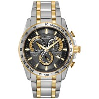 Citizen At4004 52E Men's Radio Controlled Eco Drive Chronograph Two Tone Bracelet Strap Watch Silver Gold