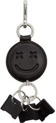 Alexander Wang Black Leather Smiley Keychain