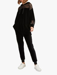 French Connection Ruthie Velour Jersey Hoodie Black