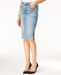 Guess Zip Detail Denim Pencil Skirt Light Wash
