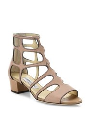 Jimmy Choo Ren Caged Leather Block Heel Sandals Nude