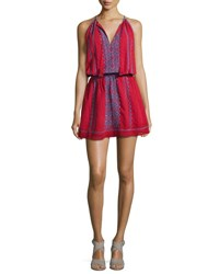 Joie Picard Embroidered Sleeveless Blouson Dress Red