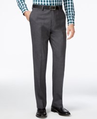 Louis Raphael Men's Slim Fit Wool Dress Pants Mid Grey