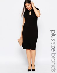 Pink Clove Cap Sleeve Shift Dress With Keyhole Detail Black