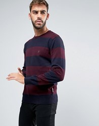 French Connection Crew Neck Wide Striped Knitted Jumper Navy