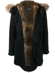 Yves Salomon Fur Trim Parka Black