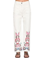 Etro Embroidered Wide Leg Denim Pants White