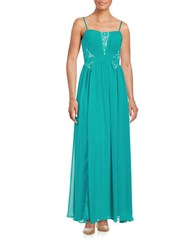 Aidan Mattox Strapless Lace Accented Gown Turquoise