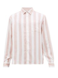 Saturdays Surf Nyc Perry Candy Striped Patch Pocket Lyocell Shirt Pink White
