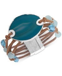 Lonna And Lilly Silver Tone Bead Stone Suede Magnetic Bracelet Blue
