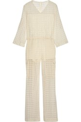 Maison Martin Margiela Checked Wool And Silk Blend Fil Coupe Jumpsuit Off White