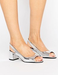 New Look Metallic Slingback Block Heel Silver