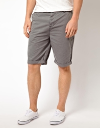 Asos Chino Shorts In Longer Length Grey